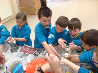 Fire lodge experimenting with liquid into solid into liquid